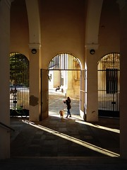 walking the dog (fotomie2009) Tags: palazzo santa chiara savona dellarovere liguria italy italia shadows ombre eresting pov nora architecture looks g
