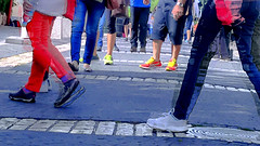 "People ""To Go"" (Ori Liber) Tags: rushhour city urban street color walking marching shoes legs variety"