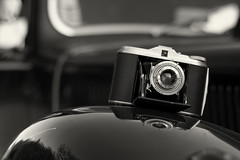 Dressed In Black. (sdupimages) Tags: dof citroen traction ancienne oldcar isolette agfa camera reflection bokeh hmbt nb bw noirblanc blackwhite