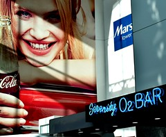 2017-04-13_12-26-42 (Thirsty Hrothgar) Tags: ad advertisement coke cocacola marshalls oxygen bar light shadow consumerism capitalism serenity