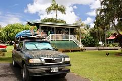 Surf Truck (WissPix) Tags: canon5ds kauai surfboard truck rooster bluesky greengrass whiteclouds hawaii hanalei palmtree
