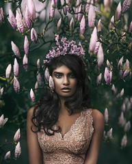 Queen Of The Blossoming Forest (Rob Woodcox) Tags: fashion beauty beautiful beautifulpeople inspiration portrait portland power woman female brown pink hair makeup flowers spring trees forest robwoodcox robwoodcoxphotography priyamareedu wardrobe styling pretty