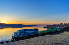 Beauty Of A Sunrise (saintjohnrailfan) Tags: sunrise nbsr newbrunswicksouthernrailway colorful sun rise early morning earlymorning blue frost newbrunswick nb grandbay grand bay train slug water coast