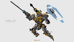 Galahad Class Mech Posing #02 (clmntin.E) Tags: walk walker mech mecha mechanical afol mocs moc lego digital designer destroyer archer class military futuristic future robot hard exo suits suit hardsuits exosuits scifi builder mini miniland minifig minifigurines figurines povray pov blue render bluerender toy pose pilot cyklops galahad knights round table king arthur neoteric lance shield