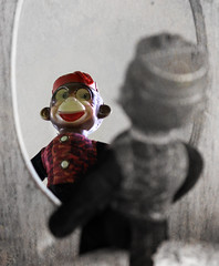 Through The Looking Glass (gebodogs) Tags: toy 117in2017 waac monkey 114117in2017throughthelookingglass vintage exploreapr242017286 explored color selectivecolor texture ipiccy