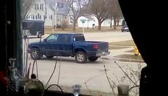 Navy blue pickup - HTT (Maenette1) Tags: pickup truck navyblue trailer street corner neighborhood window houses menominee uppermichigan happytruckthursday flicker365