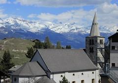 Nax (bulbocode909) Tags: valais suisse nax valdhérens montagnes églises villages nature paysages nuages printemps vert bleu arbres