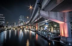 Nakanoshima Reflections (ScottSimPhotography) Tags: osaka japan japanese city cityscape night nightscape evening downtown road river riverside bridge perspective vanishingpoint asia asian scifi bladerunner