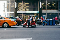the.human.scale (jonathancastellino) Tags: toronto series street scooter bike bicycle crouch figures strangers traffic bay cbd downtown road architecture leica cab taxi