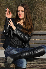 Tatjana 32 (The Booted Cat) Tags: sexy teen girl model leather boots heels highheels jacket tight blue jeans smoking cigarette