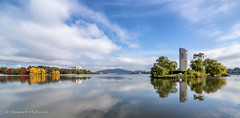 Canberra in Autumn (Howie44) Tags: australia canberra lakeburleygriffin sky waterreflections