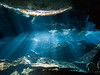 Beams and Reflections (altsaint) Tags: 714mm chacmool gf1 mexico panasonic cavern caverndiving cenote scuba underwater