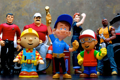 The Fix Is In (JD Hancock) Tags: fun toy actionfigure action rosietheriveter cc figure bobthebuilder char multicolored scotty mechanics babaracus theateam montgomeryscott inkitchen handymanny popsracer jdhancock wreckitralph fixitfelix
