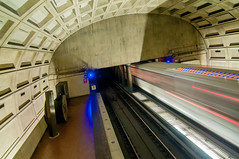 Washington DC Metro Tunnel (DigiDreamGrafix.com) Tags: city travel light vacation people stone architecture modern train dark underground subway dc washington chinatown gallery pattern place time metro interior capital go under ground tunnel move business busy stop transportation government streaks barren
