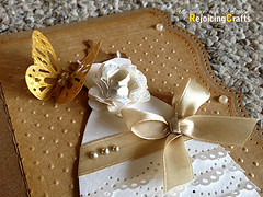 Handmade Wedding Card (RejoicingCrafts) Tags: white flower love floral butterfly scrapbooking cards gold handmade lace ribbon weddings satin deco invitations congrats