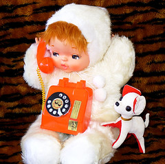 Remember to make time for your pets (DollyBeMine) Tags: dog baby pets cute eye face animal japan vintage toy japanese big stuffed eyes doll phone telephone retro plush plastic kawaii eyed cloth showa hugme shouwa