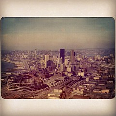 The Kingdome and Downtown Seattle [1975] (KurtClark) Tags: seattle square downtown squareformat 1975 sutro kingdome iphoneography instagramapp uploaded:by=instagram oldgoldfiltered