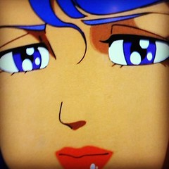 (onezilla) Tags: anime girl face square tv eyes lips squareformat mayfair bluehair       iphoneography instagramapp uploaded:by=instagram