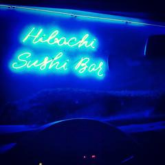 Neon Nights (jayRaz) Tags: blue light car sign electric bar night dark sushi neon texas tx dash inthecar wired dim rockwall cursive hibachi electricblue dasboard squareformatrowletttexasunitedstates