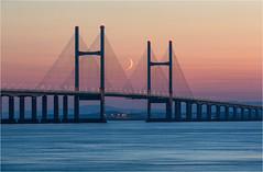 Crescent Moonrise (Chris Beard - Images) Tags: bridge sunset seascape water landscape coast somerset gloucestershire severnbridge