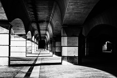 lone is the time (Kim S. Landgraf) Tags: street city bridge urban blackandwhite bw valencia monochrome vanishingpoint blackwhite loneliness streetphotography 45mm omd
