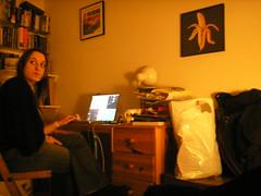 Elodie in Mark's room (Gary Kinsman) Tags: pictures orange london film look night lowlight availablelight ambientlight laptop 2006 behind n1 newingtongreen slowshutterspeed canonbury newingtongreenroad