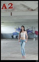 nEO_IMG__MG_0435 (c0466art) Tags: blue light portrait beautiful canon pose eyes perfect long pretty legs outdoor body great taiwan line jeans showgirl figure attractive 5d charming elegant curve  c0466art