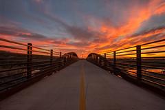 Natomas Crossing (boingyman.) Tags: bridge sunset urban landscape canal sacramento scape natomas boingyman