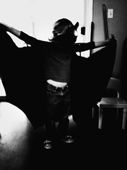 331 of 365 - The Dark Knight ([ the black star ]) Tags: boy blackandwhite bw playing kid toddler mask dressup things kingston stuff batman cape shrug pretend preschooler noirfilter 331365 theblackstar threehundredthirtyone uploaded:by=flickrmobile flickriosapp:filter=noir