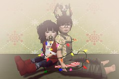 Danny&Abby (NaomiMia Resident) Tags: life christmas red baby cute green art kids children photography lights child little sweet adorable wrapped secondlife second binky kiddos