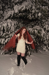 Snow (hamcleanphotos) Tags: red blackandwhite snow tree angel fairytale ginger dress snowing snwoing