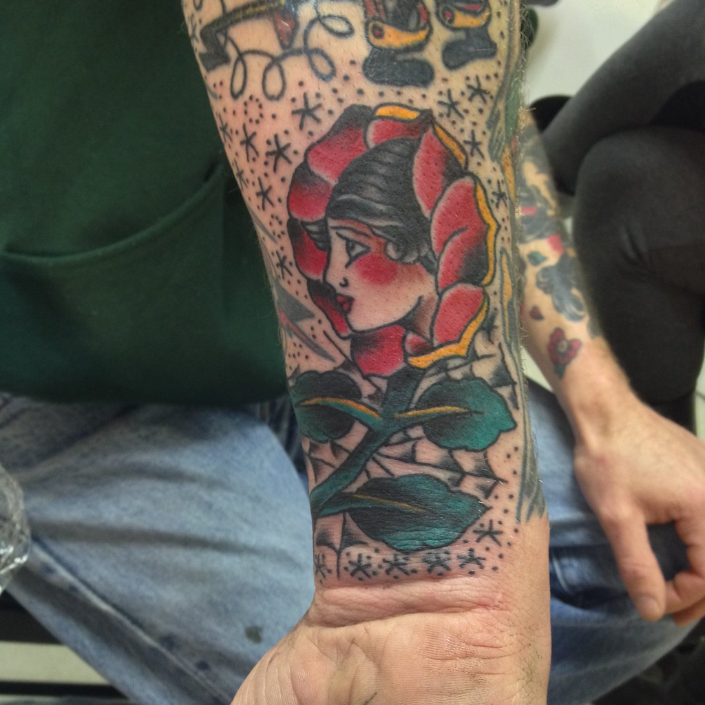 fea6a1bca Girl Head In Rose traditional tattoo by KeelHauled Mike of Black Anchor  Tattoo in Denton Maryland