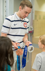 Jordan Malone interacts with Nelson Elementary students (dentonisd) Tags: ice students vancouver texas tx skater olympics denton medals sochi schoolassembly speedskater dentonisd jordanmalone nelsonelementary