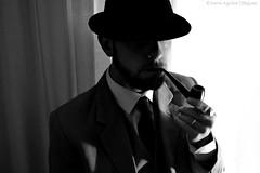 Backlighting (Irene Aguilar Diguez.) Tags: white man black classic blancoynegro hat masculine manly pipe smoking suit fedora smoker backlighting whiteandblack pipesmoker virile