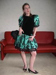 Cocktail dress (Paula Satijn) Tags: cute sexy green girl beauty shiny dress legs lace skirt satin silky classy elegance