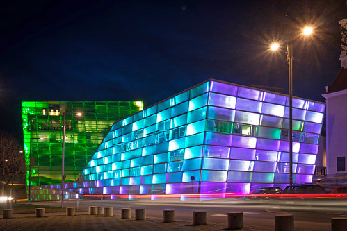 Ars Electronica Center in the evening