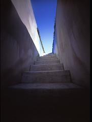 Stairs to the sky (shikihan) Tags: pinhole holga 6x9 medium fujichrome velvia stairs sky mishima japan