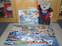 Sumware in Greece (pefkosmad) Tags: jigsaw puzzle hobby leisure pastime 1000pieces used complete cute soft stuffed toy plush fluffy tedricstudmuffin teddy ted bear boats skala patmos greece photograph