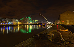Dublin's Samuel Beckett Bridge at night (cmfgu) Tags: dublin ireland stpatricksday europe vacation riverliffey night evening samuelbeckettbridge lit green conventioncentre hdr highdynamicrange capital holiday lights saintpatricksday leinster craigfildesfineartamericacom