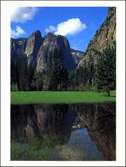 postcard - Yosemite, Cathedral Rocks (Jassy-50) Tags: postcard yosemitenationalpark yosemite nationalpark park unescoworldheritagesite unescoworldheritage unesco worldheritagesite worldheritage whs reflection mountain cathedralrocks vernalpool rock