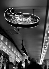 Fresh (Christine Marie Gordon) Tags: blackandwhite pikeplace seattle market grocery shop street outdoors city lights fish food fresh neon sign