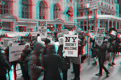 New York, New York (DDDavid Hazan) Tags: ny nyc newyork newyorkcity fifthavenue taxi protrumprally protrump rally banners street streetphotography anaglyph 3d bw blackandwhite bwanaglyph 3danglyph 3dstereophotography redcyan redcyan3d stereophotography stereo3d police nypd