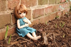 Sprouts (AluminumDryad) Tags: fairyland littlefee ltf ante yosd tinybjd bjd balljointeddoll doll resin wall bricks outdoors mulch plants adad2017 adolladay