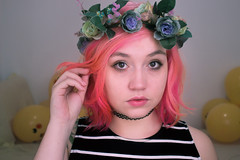 (shinebrightx) Tags: girl pinkhair colorfulhair colorful cute kawaii flowers flowercrown