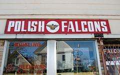Polish Falcons, Falcon Bowl, Milwaukee (Cragin Spring) Tags: midwest milwaukee milwaukeewi milwaukeewisconsin wisconsin urban city riverwest building falconbowl bowling bowlingalley bar tavern window polish polishfalcons wi sign