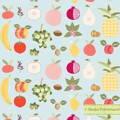 fabric pattern multi fruit tissu motif (Nadja PETREMAND) Tags: pattern fabricpattern patterndesign fabric fabricdesign tissu