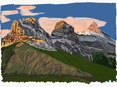 My Drawings - Canmore Three Sisters (thor_mark ) Tags: adobedraw adobeillustratordraw aftersunrise artdigital bigsister blueskieswithclouds canadianrockies cloudsaroundmountains digitalpainting evergreens hillsideoftrees hillsides landscape littlesister lookingsouth middlesister mountains mountainsindistance mountainsoffindistance mountainside nature outside rockymountains rundlepeaks southbanffranges southerncontinentalranges sunlightonpeaks thethreesisters trees triptoalbertaandbritishcolumbia ipad ipaddrawing canmore alberta canada