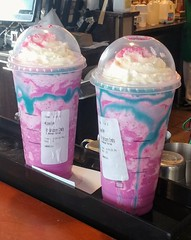 Unicorn Frappucino - contains no real unicorn, but does have lots of sugar. (SA_Steve) Tags: unicornfrappucino starbucks drink unicorn frappucino pink blue flavorchanging