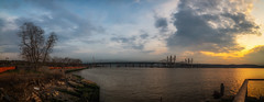 Sunset over the Hudson Panorama (Havoc315) Tags: d750 nikon hudson tappan zee bridge landscape tarrytown river hudsonriver nikond750 tappanzeebridge lightroom panorama rokinon14mm sunset lightroompanorama