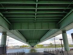 Under the bridge (Helenɑ) Tags: architecture bridge cologne koln germany deutschland river rhein rhineriver nrw nortrhinewestphalia bike fence